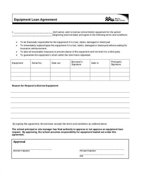Sle Agreement Letter For Lending Equipment Sle Loan Agreement Form 12 Free Documents In Doc Pdf