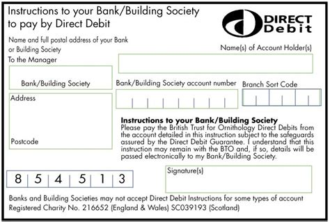 direct debit form membership application renewal form for printing bto