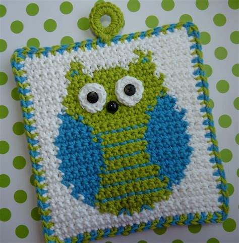 etsy owl pattern whiskers wool it s a hoot owl potholder pattern new