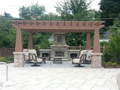 pergola with fireplace before and after backyard landscape transformation ryco landscaping