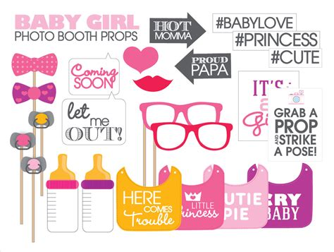 baby girl photo booth props printable baby shower props printable pdf girl instant download