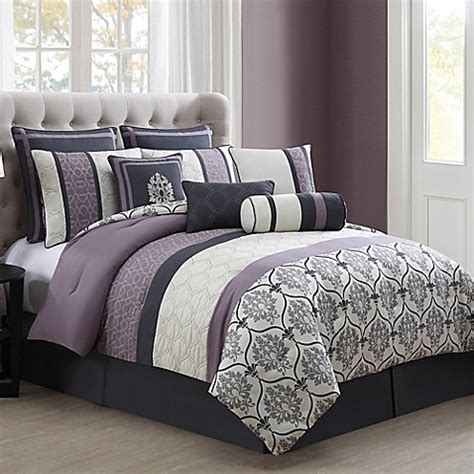 gray and purple bedding darla 10 piece comforter set in purple grey bed bath