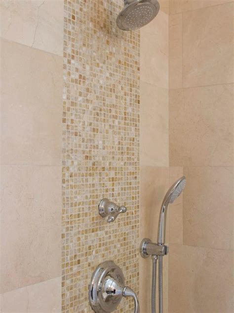 mosaic tile detail  neutral bathroom shower hgtv
