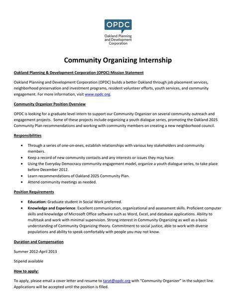 community organizer resume