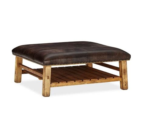 caden leather bench caden leather square ottoman pottery barn