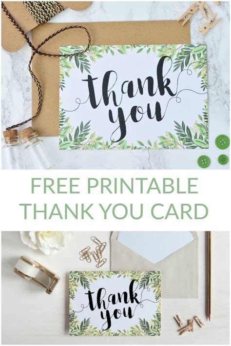 thank you card template for employees free printable thank you botanical inspired card