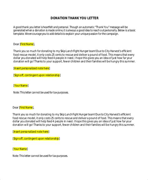 political fundraising letter template sle donation thank you letter 10 exles in word pdf