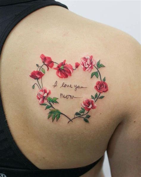 hearts and flower tattoos designs i you flowers wreath girly soft ink