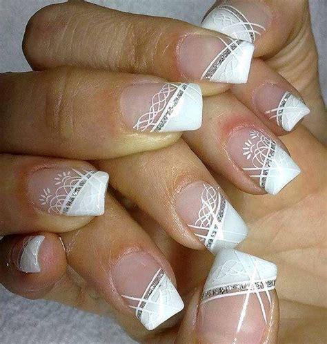 Auto Tip Wedding by White Diagonal French Tip Wedding Nail Art