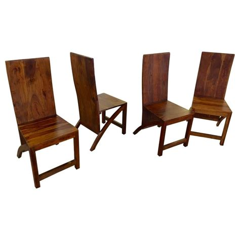 Handmade Wood Chairs - set of four sculptural wood handmade chairs for