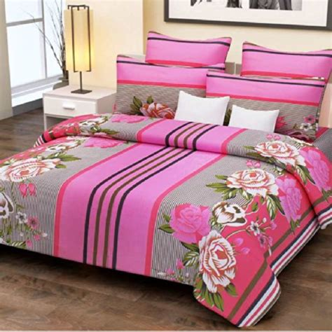 double bed sheet pink stripes and flowers double bed sheet with 2 pillow
