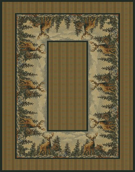 Wildlife Area Rugs Plaid Deer Forest 4x6 Area Rug Wildlife Lodge Carpet Actual Size 3 11 Quot X 5 3 Quot Ebay