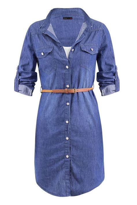 Dress Denim Longhem Denim Belt Tunik Denim womens vintage detachable waist belt denim sleeve shirt dress uk 8 16 ebay