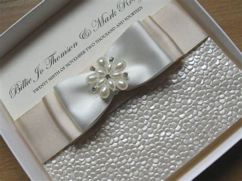 Handmade Luxury - luxury handmade wedding invitation pearls diamante satin