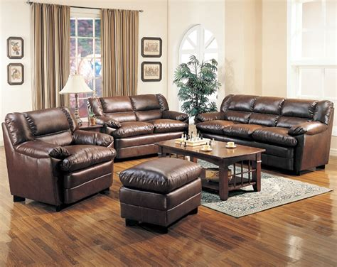 Brown Leather Living Room Set Harper Leather Living Room Set In Brown Sofas