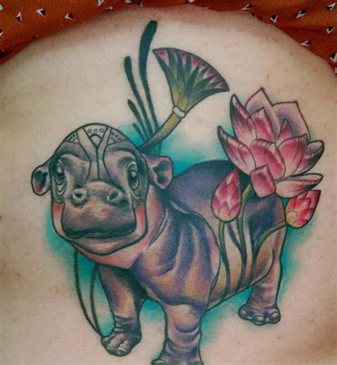 new school hippo tattoo cute old school colorful hippo tattoo on thigh