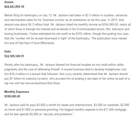 Search Bankruptcy Numbers A Closer Look At 50 Cent S Bankruptcy By The Numbers Apparatus