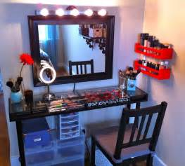 Narrow Makeup Vanity Table Black Framed Wall Mirror With Lighting And Narrow Glass