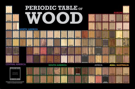 Periodic Table Of Wood the periodic table of wood poster the wood database