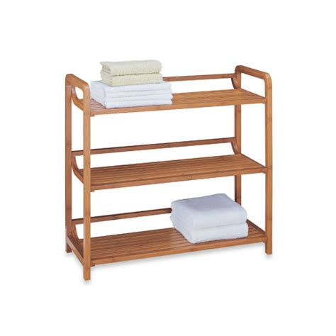 Free Standing Shelf Units by Bamboo 3 Tier Shelf Unit In Free Standing Shelves