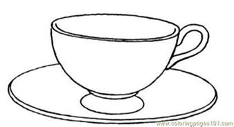 Teacup Outline Drawings by Coloring Pages Cup And Saucer Other Gt Kitchenware Free Printable Coloring Page