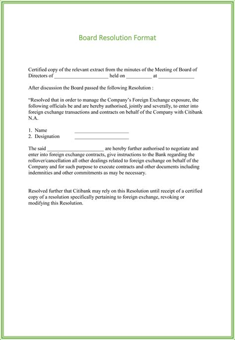 letter of resolution template board resolution templates 4 sles for word and pdf
