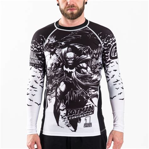 Rashguard Baselayer Compression Spat Manset Bjj No Gi Fitness Run batman confidential noir rash guard fusion fight gear