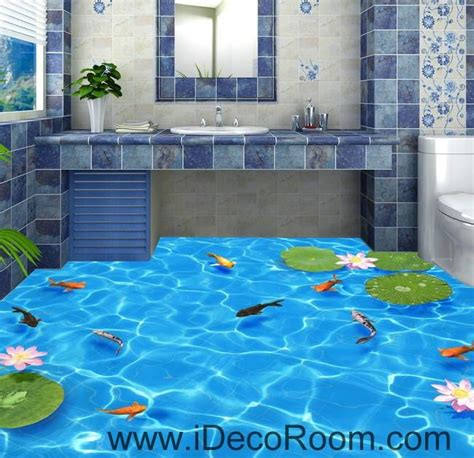 Tropical Wall Mural clear water fish lotus 00037 floor decals 3d wallpaper