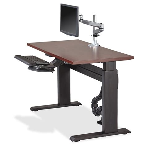 best adjustable height computer desk lorell height adjustable workstation tabletop mahogany