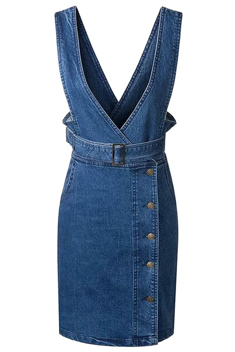 Dress Denim Careena Belt casual denim overall dress with belt oasap