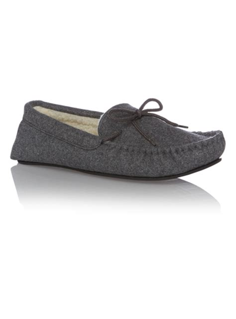 sainsburys childrens slippers mens grey felt moccasin slippers tu clothing