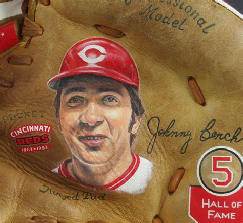 johnny bench career stats autographed johnny bench baseball glove art sean kane