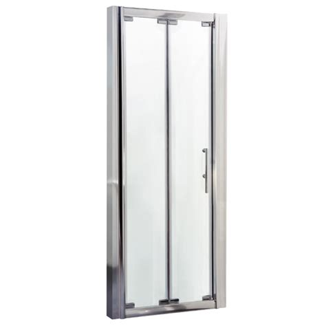 aegean frameless bi fold shower door at plumbing uk