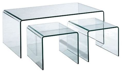 All Glass Coffee Table 3 All Glass Nesting Cocktail Table Contemporary Coffee Tables By Hurwitzmintz