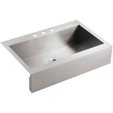 top mount apron front kitchen sink kohler vault top mount apron front stainless steel 36 in