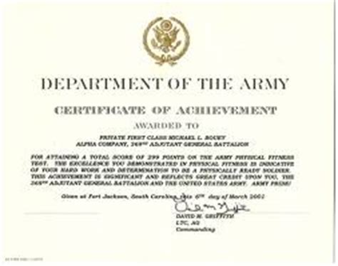 certificate of achievement template army 2012 july citizen soldier resource center