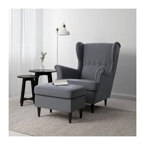 Armchairs With Ottoman Strandmon Footstool Nordvalla Dark Grey Ikea
