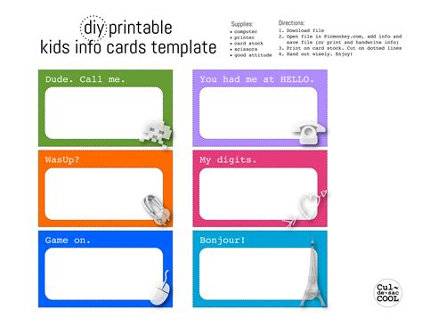 card template free diy printable kids info cards template