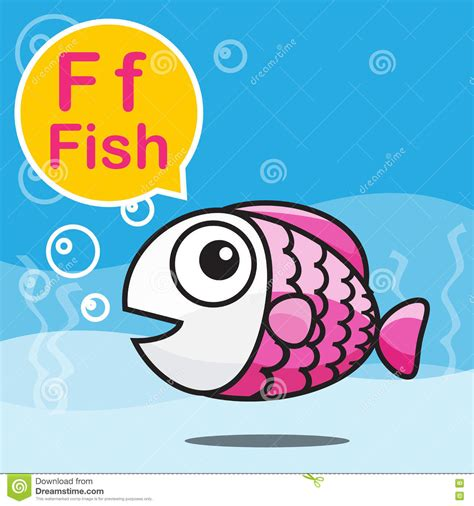 F Fish Color Cartoon And Alphabet For Children To Learning
