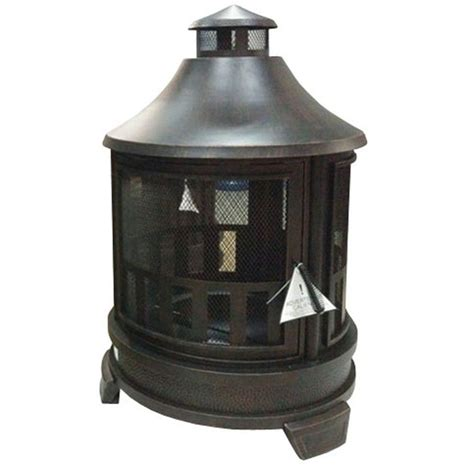hton bay outdoor fireplace hton bay 35 in basswood antique bronze outdoor