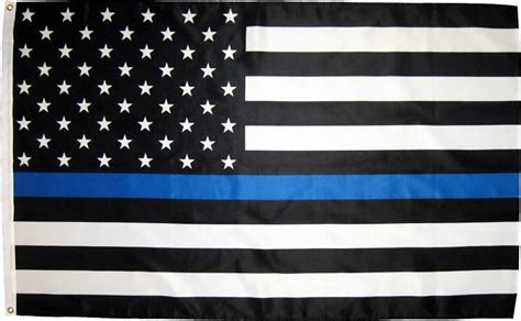 Clearance Home Decor Fabric by Police Thin Blue Line Black And White American Flag 4x6