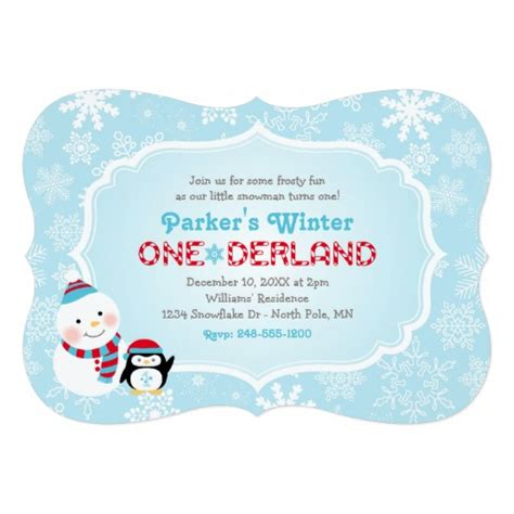 birthday card template winter onederland winter onederland birthday snowman and penguin