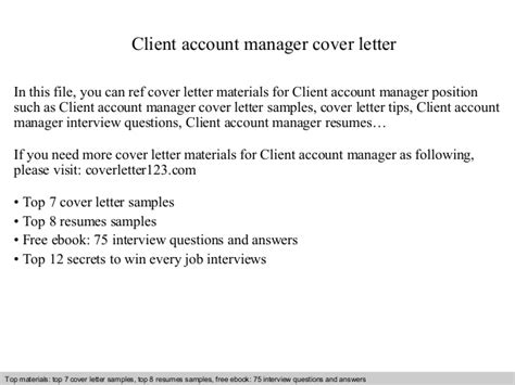 Client Account Manager Cover Letter by Client Account Manager Cover Letter