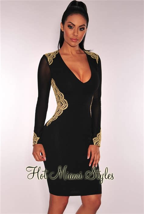 Embroidered Sleeve Dress black gold embroidered sheer sleeves dress