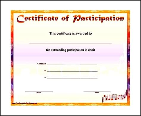 sle music participation certificate template sle