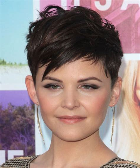 brunette hairstyles wiyh swept away bangs ginnifer goodwin short straight casual pixie hairstyle