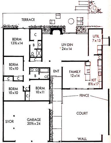 atomic ranch floor plans atomic ranch house plan simple floor plans pinterest