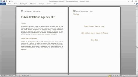 pr rfp template pr agency services rfp template