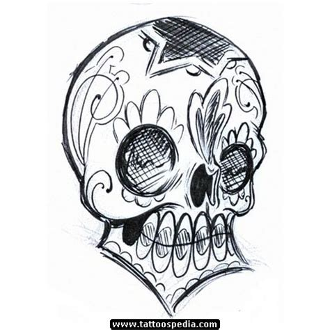 cartoon skull tattoo designs grey ink skull gangsta design