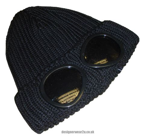 cp hat cp company black wool beanie hat with goggles hats from
